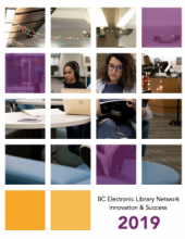 Image of the cover of the Innovation & Success 2019 Report: A photo of a woman looking at her computer while holding a book.