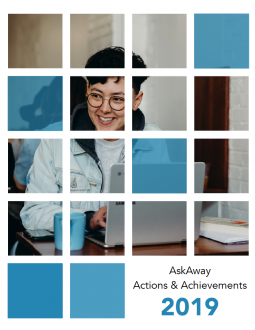 Image of the cover of the AskAway Actions & Achievements 2019 Report: A photo of a person smiling and working on a laptop.