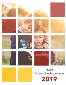 Cover of Illume Actions & Achievements 2019 report; image shows two young children reading a book outside in a field.